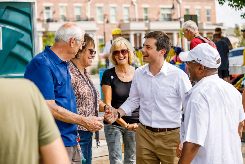 South Bend, Indiana mayor Pete Buttigieg shakes hands with voters on the campaign trail