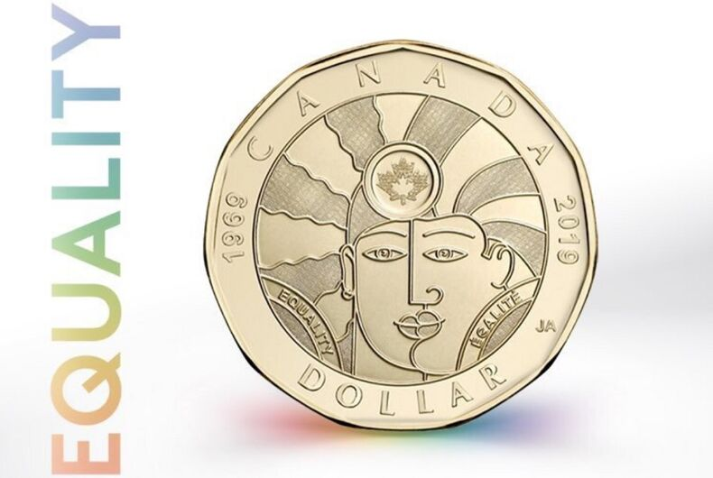 The design of the coin on a white background