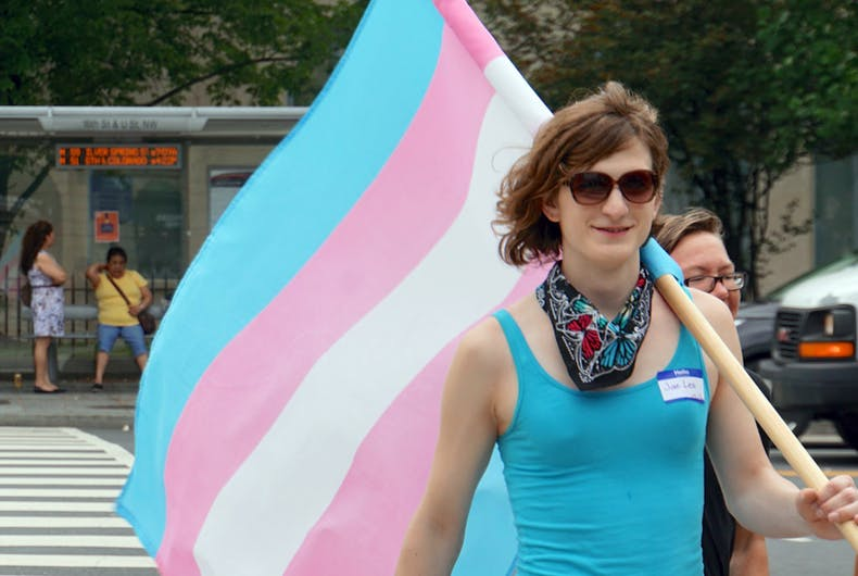 A person carrying a transgender flag in a street