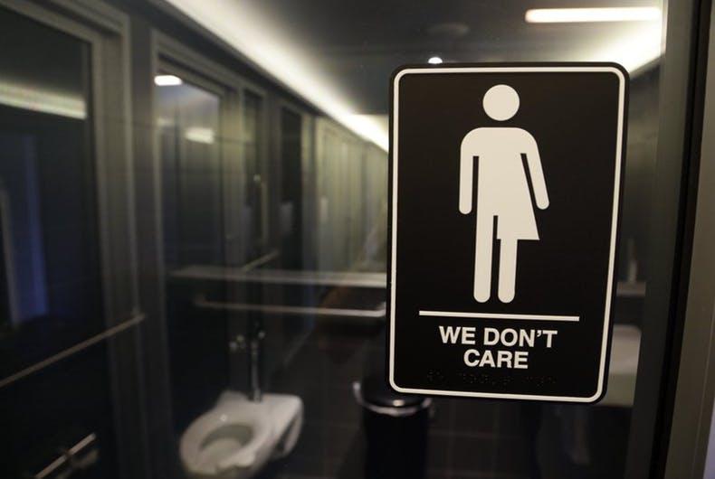bathroom sign that says