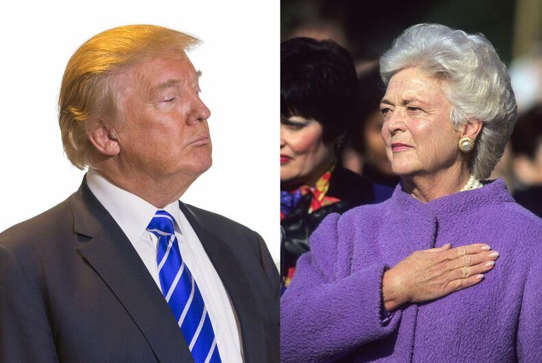 President Donald Trump and former First Lady Barbara Bush