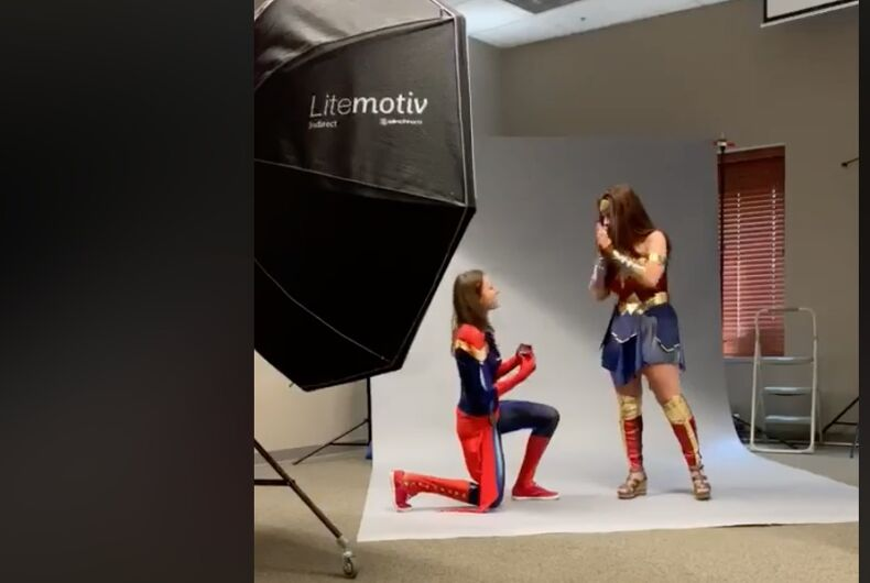 Watch as Captain Marvel proposes to Wonder Woman
