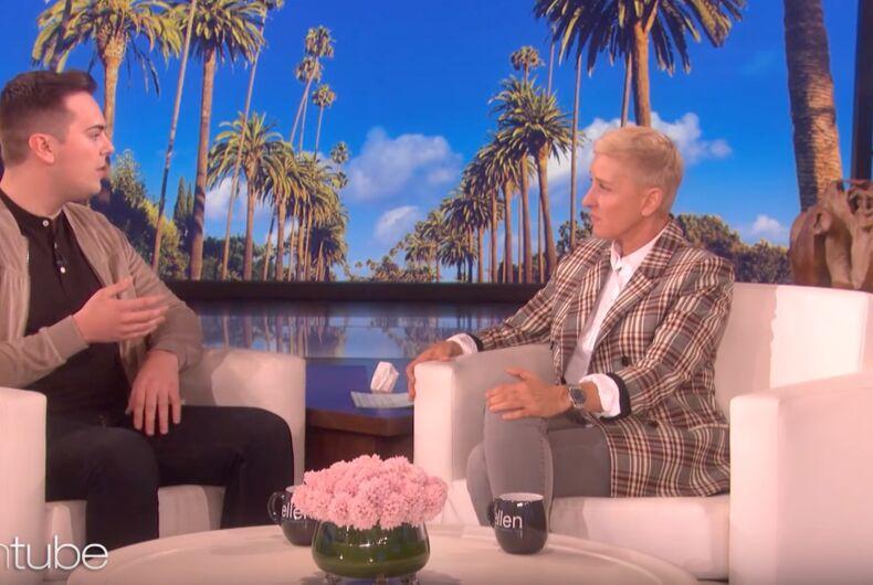 Brigham Young graduate Matthew Easton talks to Ellen DeGeneres