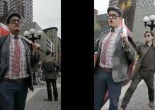 Watch this terrified antigay Nazi get egged & run away