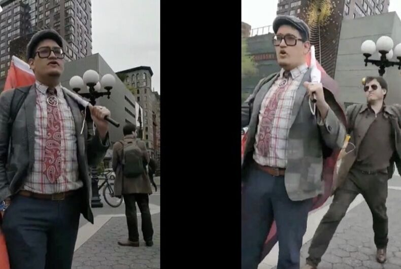 Jovanni Valle, a self-professed Nazi and Trump supporter, gets egged on the streets of Manhattan