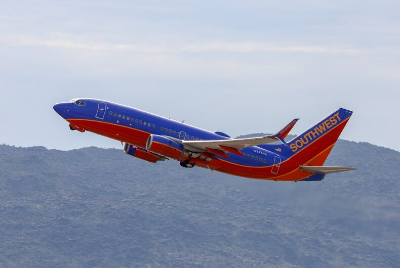 A Southwest 737-700 departing Phoenix Sky Harbor International Airport.