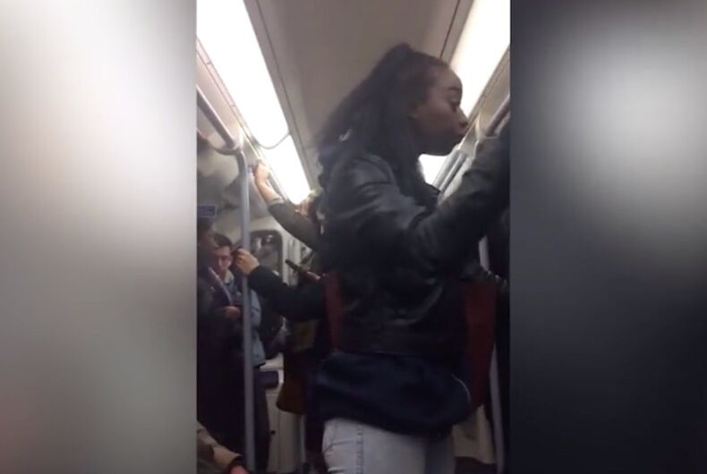 This woman began to verbally and physically assault a gay man on the London Underground