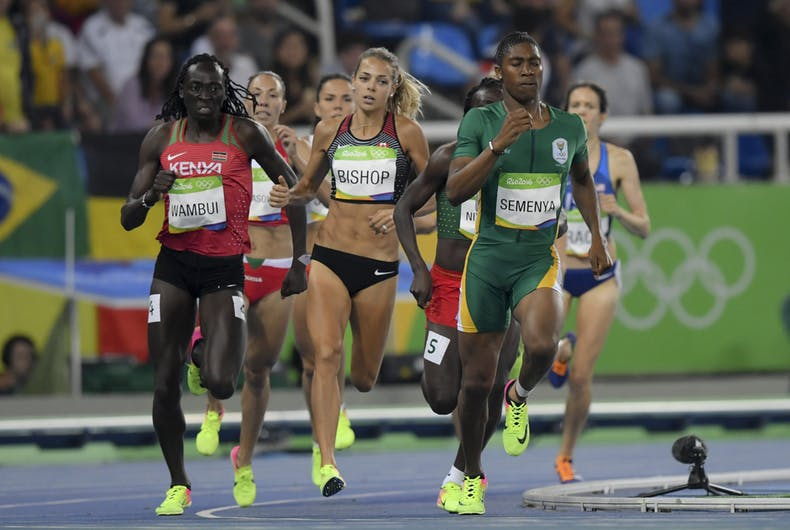 Caster Semenya competes during the women's 800m in the Rio 2016 Olympics Games