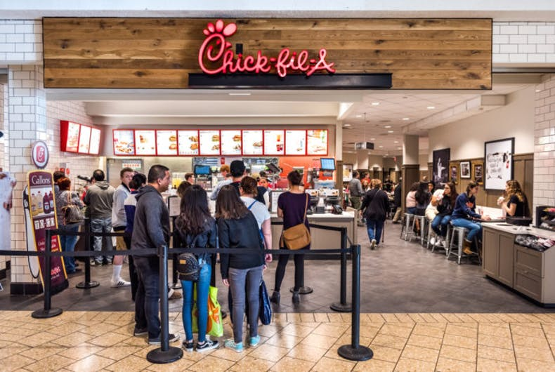 Fairfax, USA - February 18, 2017: Chick-fil-A store with people in line waiting to buy food