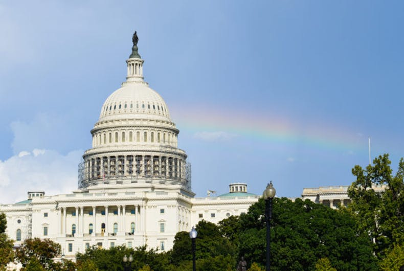Capitol with a rainbow