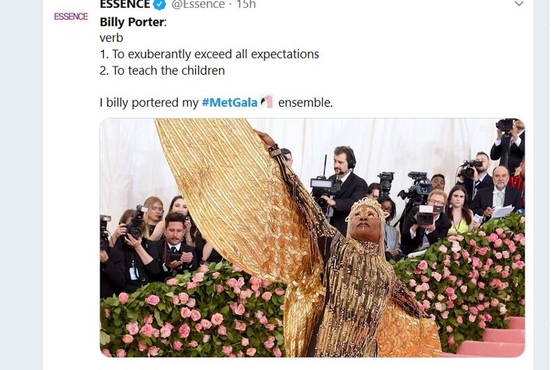 A tweet about Billy Porter's outfit