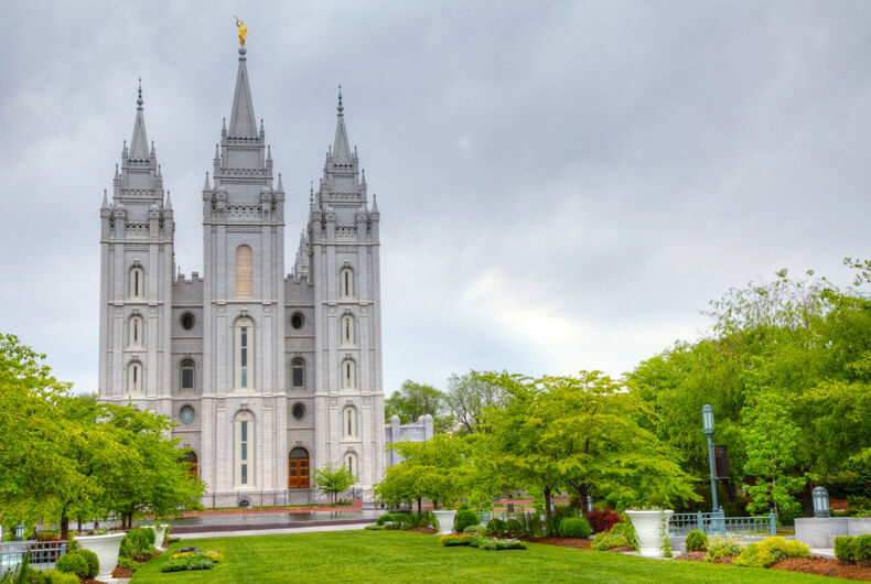 The Mormon temple in Salt Lake City, Utah.