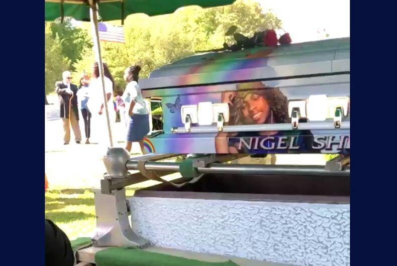 Nigel's rainbow casket