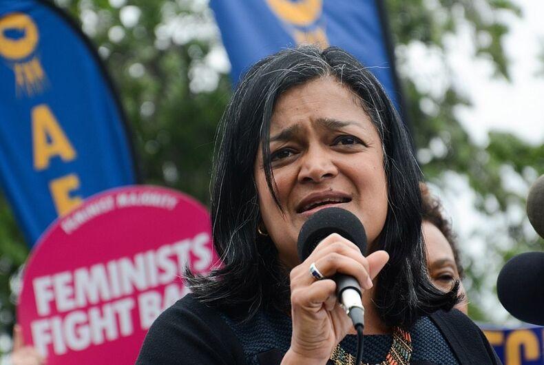 Representative Pramila Jayapal speaks at a rally.
