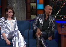 Stephen Colbert surprised Anne Hathaway by helping her meet RuPaul. She broke down in tears.