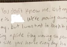 That time a lesbian couple found a note from a neighborhood kid on the front door