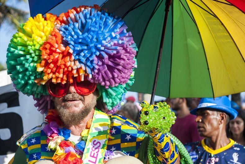 People celebrate Pride at the Rio de Janeiro carnival in 2017