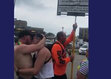 These guys found the best way to scare off a Christian Pride protestor. They kissed.