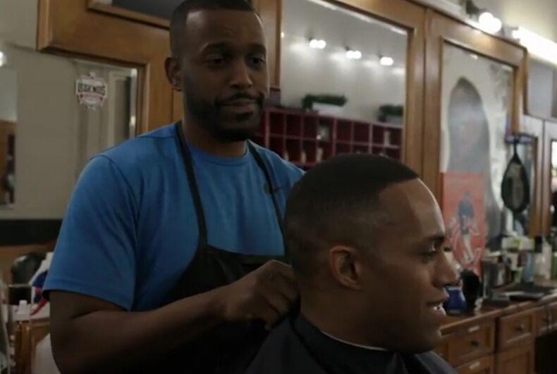 Nikko Briteramos getting his hair cut
