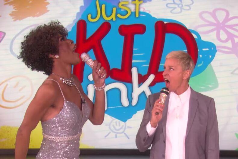 Ellen and a drag queen performed