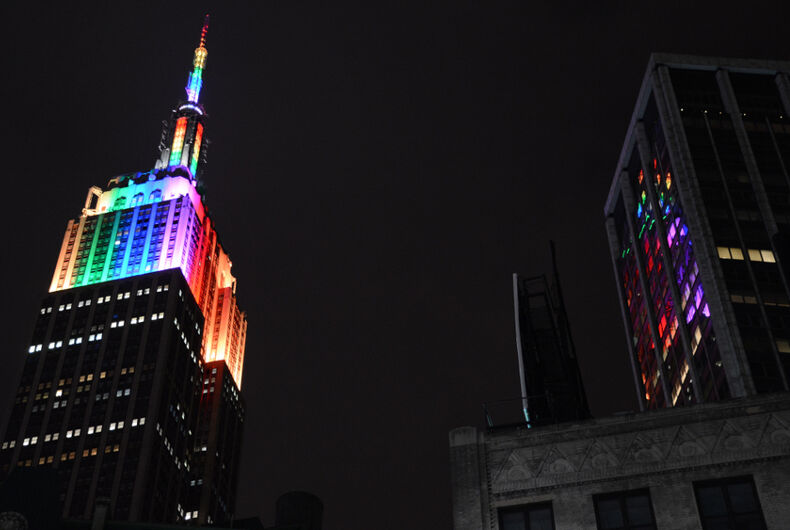 Empire State Building, rainbow colors, gay, LGBTQ, world Pride, Pride month, New York City
