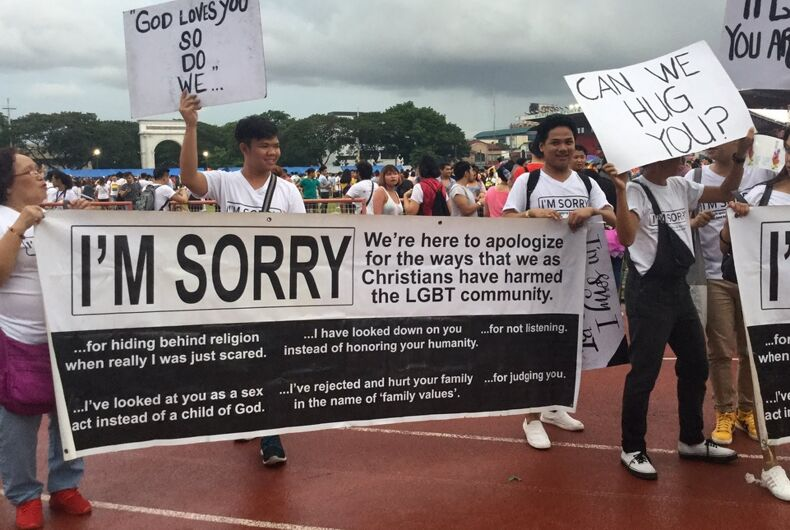 A group of Filipino Pentecostal Christians marched in a Pride parade with an