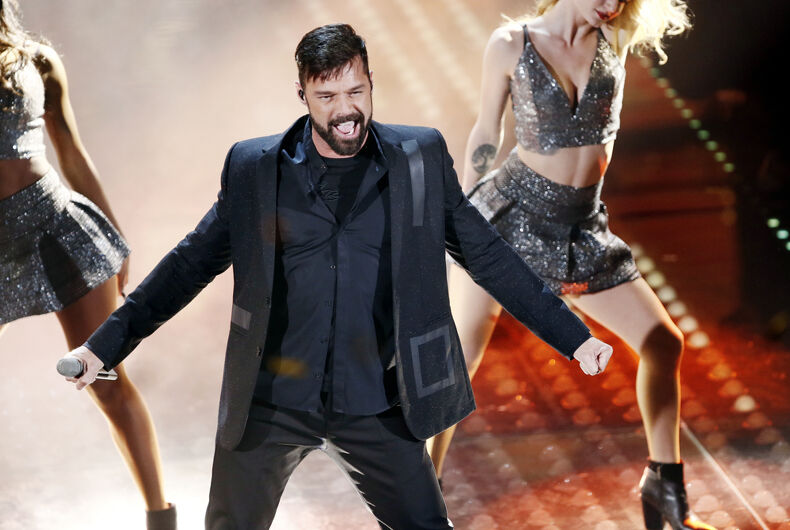 Singer Ricky Martin performs during the 67th Sanremo Song Festival on February 7, 2017, in Sanremo, Italy.
