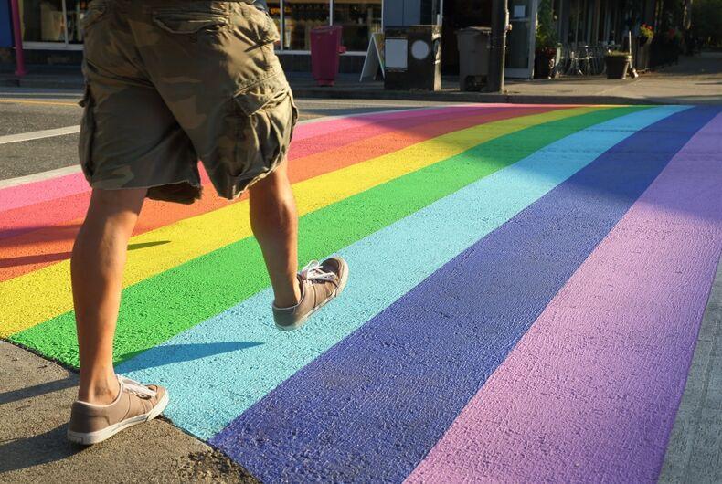 rainbow crosswalk, LGBTQ, pride, fast walking