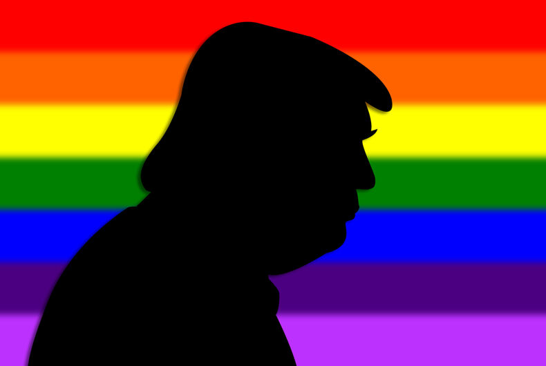 An illustration of a portrait silhouette of Donald Trump, the 45th President of USA, in front of a rainbow flag