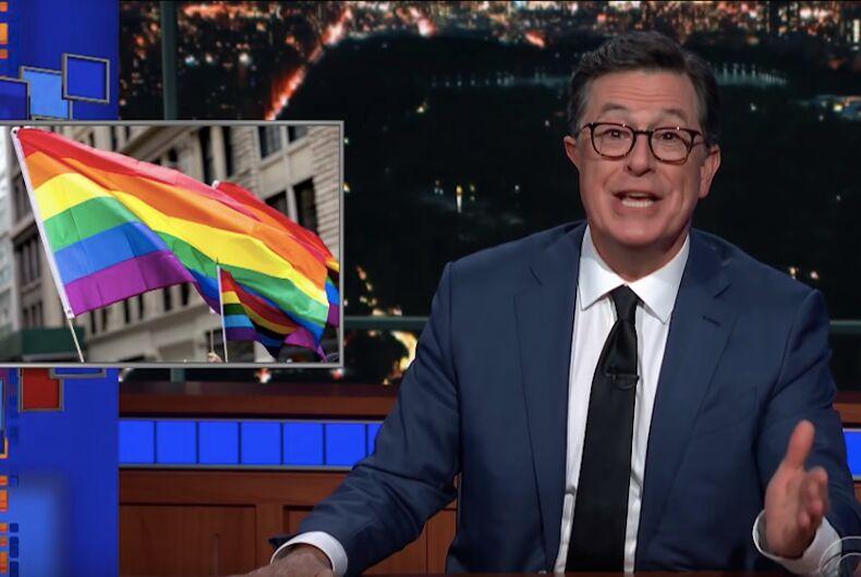 Stephen Colbert, Pride, LGBTQ, gay, parade, Jerry Lewis, Jenny Lewis