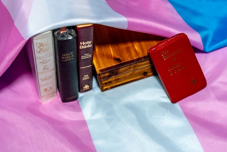 Trans flag and Christian books
