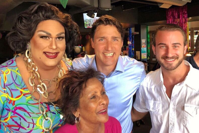 Canadian Prime Minister Justin Trudeau took a swing through a Vancouver gay bar to celebrate Pride.