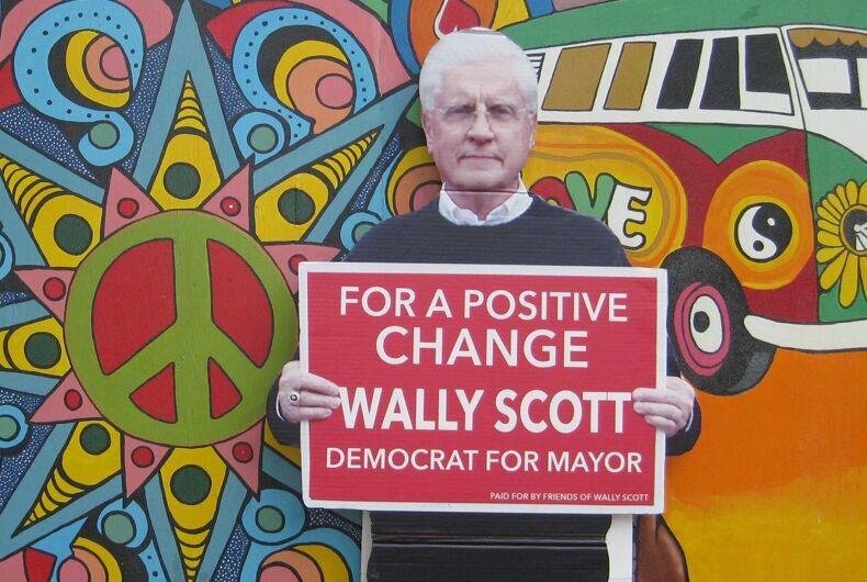 A cardboard cutout of Reading, PA mayor Wally Scott promises