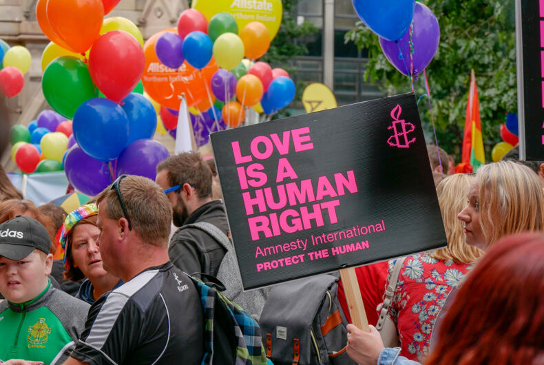Belfast, Northern Ireland, UK - August, 4, 2018: Thousands turn out for the annual LGBTQ Pride parade.