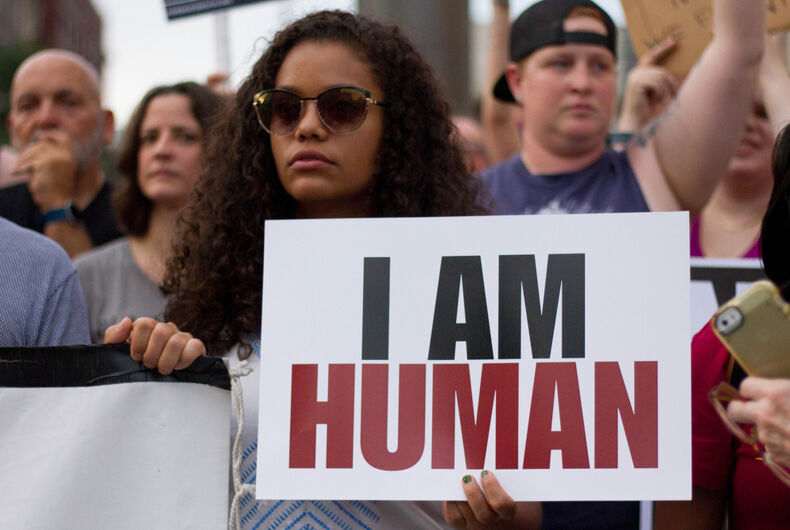 Demonstrators in Philadelphia participate in a rally against white nationalism and other forms of racism and hate