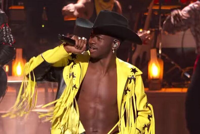 Lil Nas X performing at the BET Awards