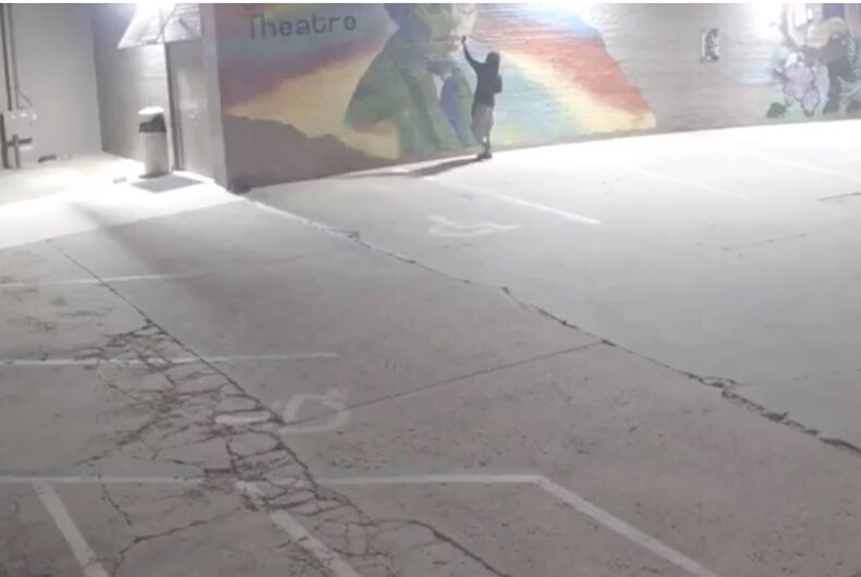 An unidentified person defaces an LGBTQ mural in Oklahoma City