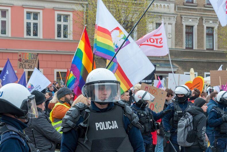 Police at Pride in Poland