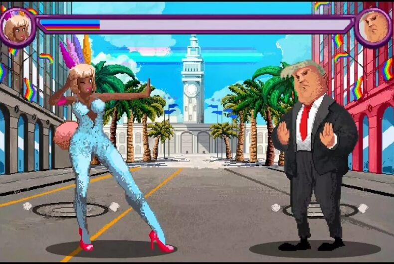 A dancer facing off against Donald Trump