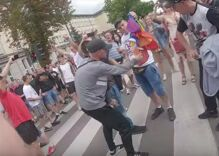 Bigots attack Pride march by throwing bricks & burning rainbow flags