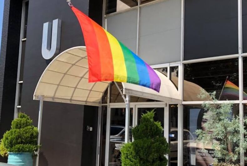 The rainbow flag outside Salon U