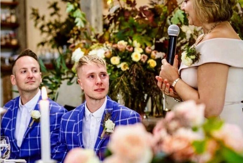 Vanessa Hall giving the toast at her son's wedding