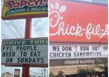 Popeye's comes for Chick-fil-A for being closed on Sundays