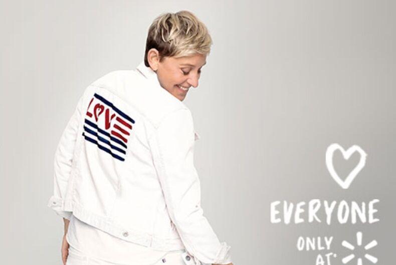 Ellen wearing a walmart jacket