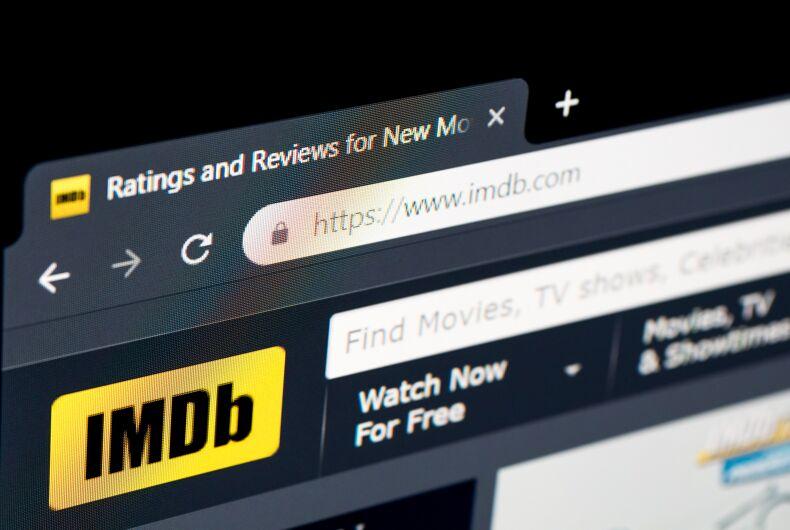 Screenshot of IMDb's website