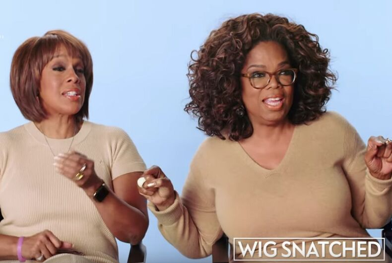 Oprah and Gayle talking about wigs getting snatched