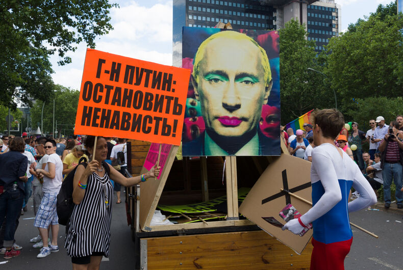 JUNE 22, 2013: Protesters in Berlin, Germany decry a Russian law prohibiting