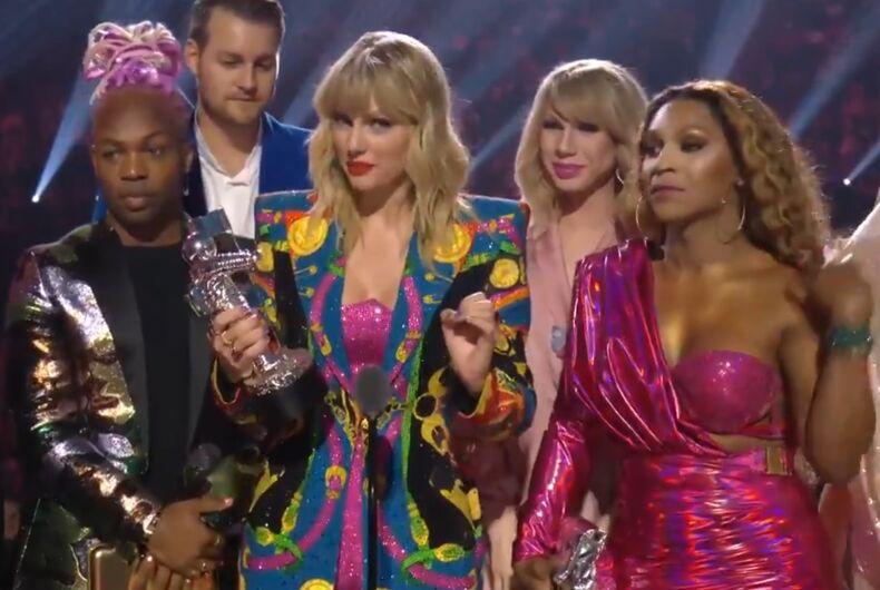 Taylor Swift and company at the VMAs