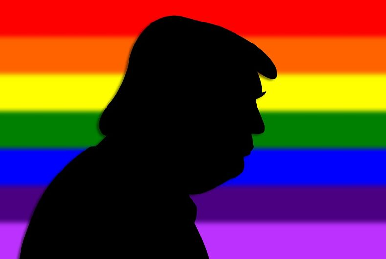 Trump silhouette with a rainbow flag