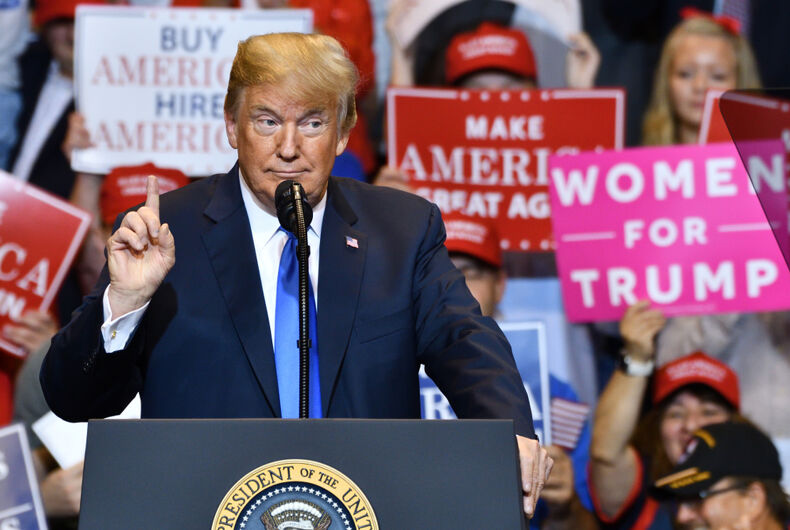 President Donald Trump speaks at a campaign rally for Congressman Lou Barletta in August of 2018.